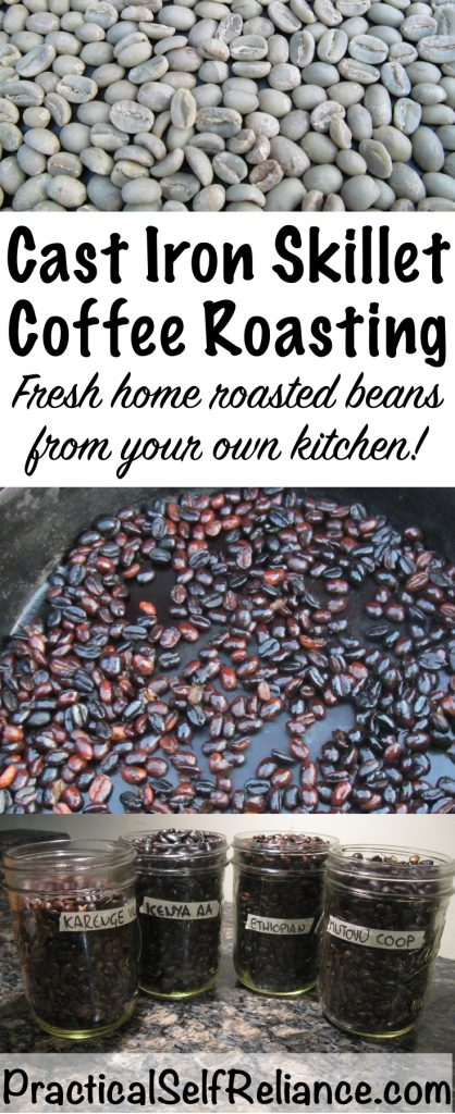 Roast your own coffee at home in a cast iron skillet