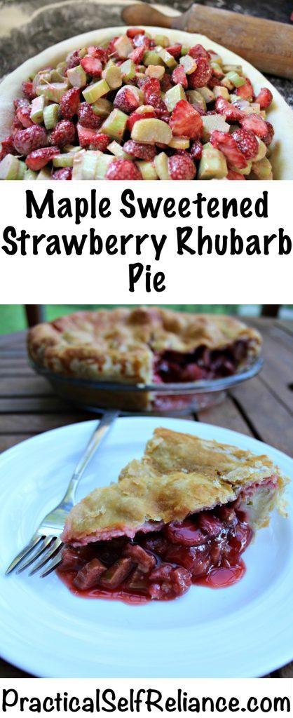 Maple Sweetened Strawberry Rhubarb Pie Recipe