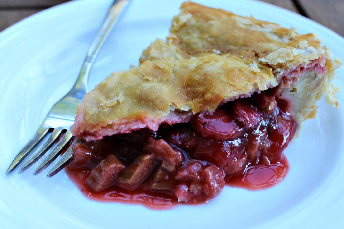 Maple Sweetened Strawberry Rhubarb Pie Slice