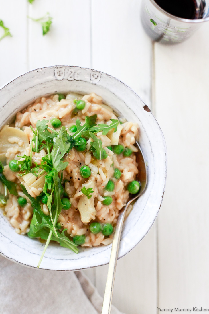 Vegan Risotto with Peas and Artichokes From Yummy Mummy Kitchen