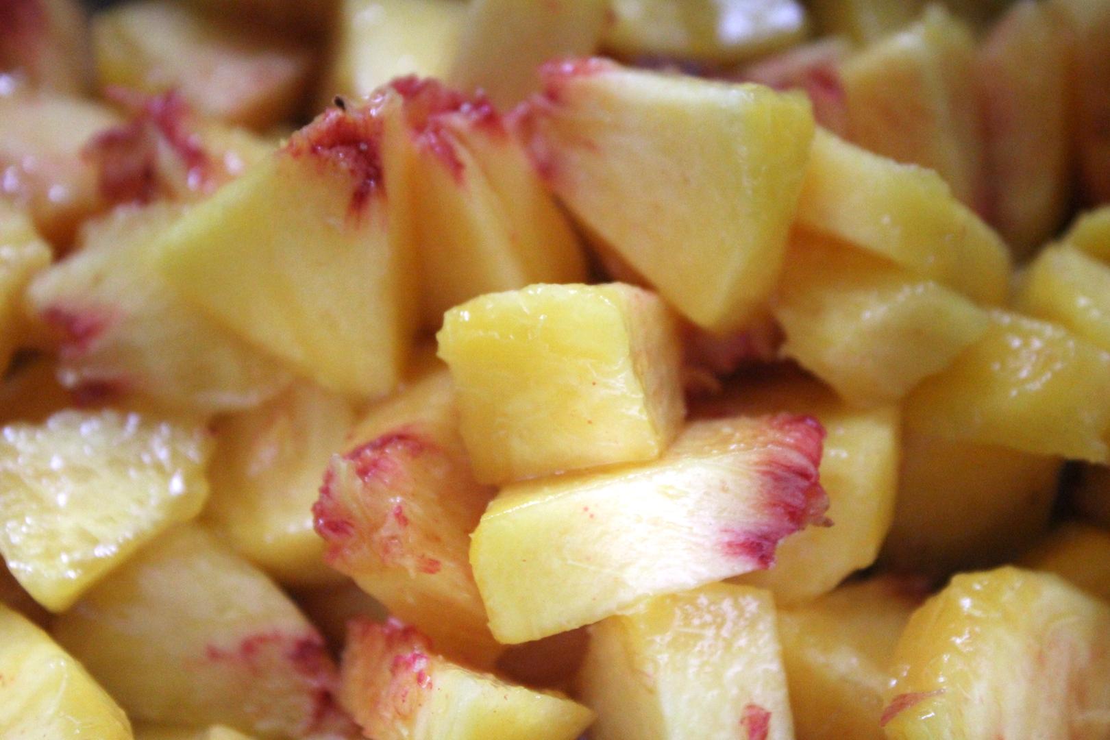 chopped peaches for peach jam