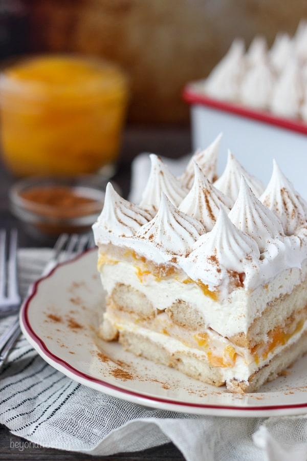 No Bake Peach Icebox Cake Using Peach Pie Filling