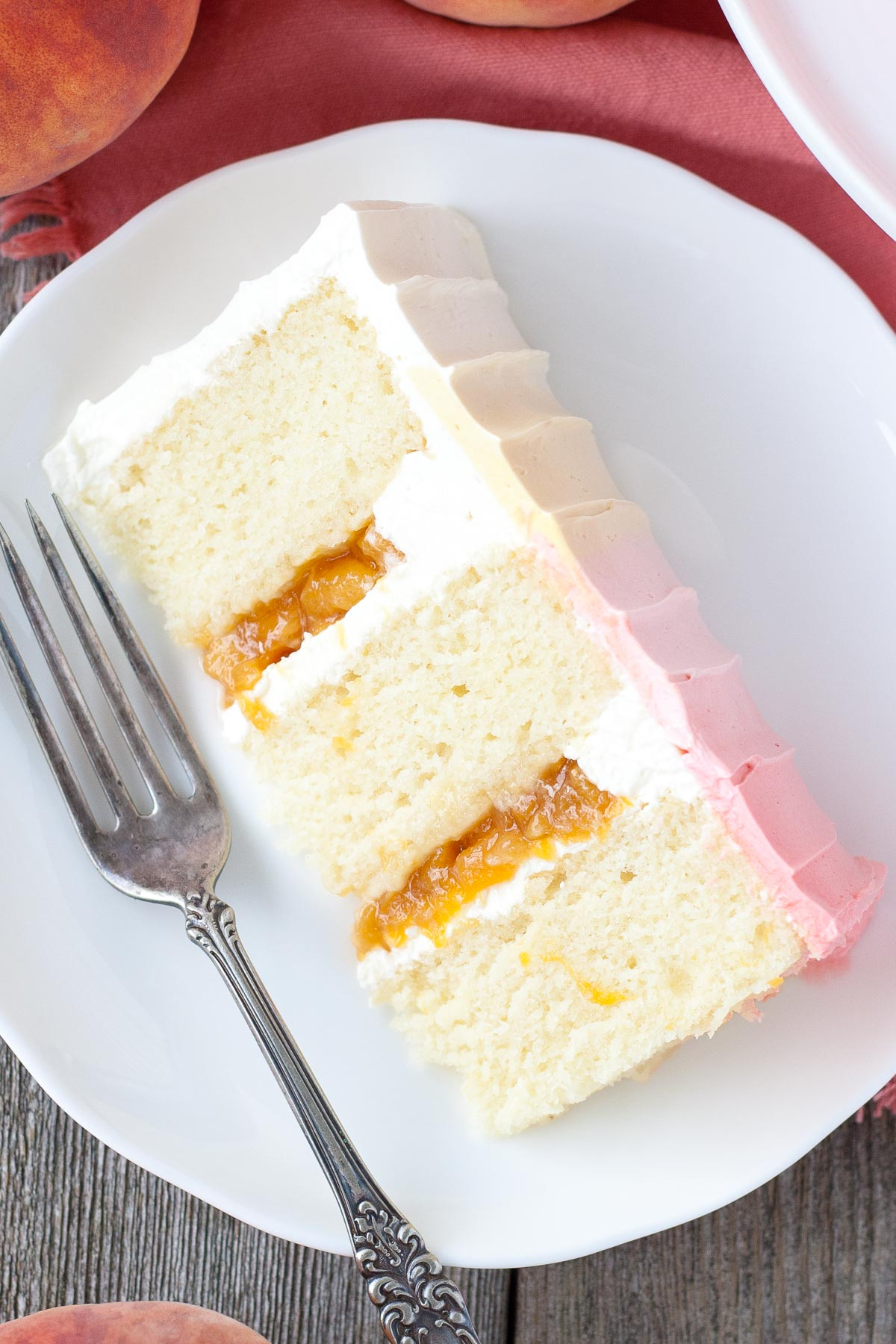 Peach Layer Cake using canned peach pie filling