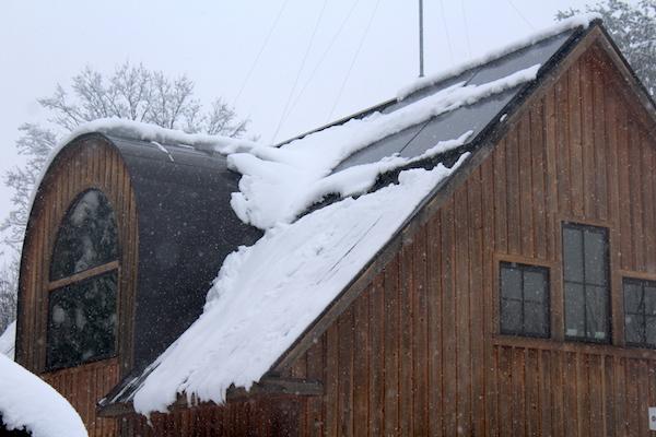 Garage Solar Panels with snow
